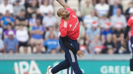 Tymal Mills in international action for England against Sri Lanka. Picture: Chris Ison/PA