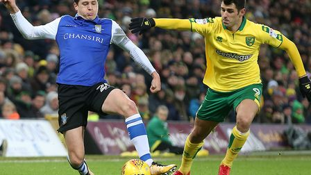 Nelson Oliveira goes on the attack in Norwich City's 3-1 win over the Owls at Carrow Road. Picture: