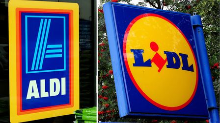 Undated file photos of the logos for Aldi and Lidl, as the two supermarkets have fired the latest sa
