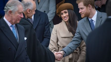 Prince Harry and Meghan Markle at Sandringham at Christmas. Picture: Paul John Bayfield