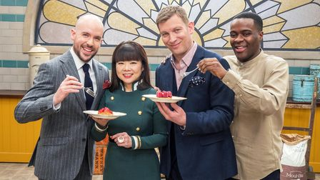 BAKE OFF: THE PROFESSIONALS: Tom Allen, Cherish Finden, Benoit Blin and Liam Charles. Picture: Chann