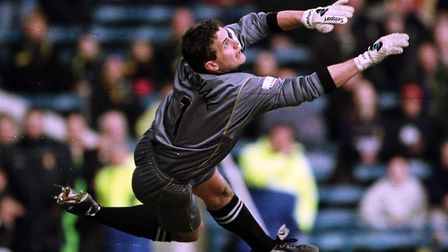 Andy Marshall on his way to a clean sheet for Norwich in a 0-0 draw at Wimbledon in May 2001. Pictur