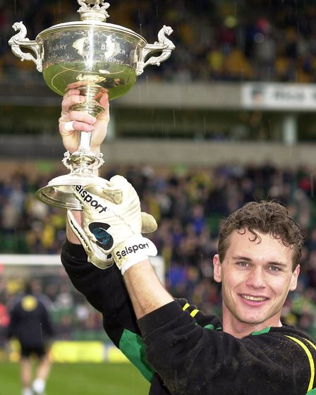 Andy Marshall lifted the Barry Butler Memorial Trophy after being voted player of the season for 200