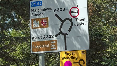 A car parking sign in Windsor ahead of the royal wedding this weekend. Picture: Steve Parsons/PA Wir