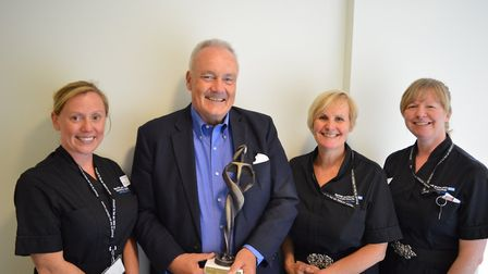 Lucy Weavers, Mark Davies, Debbie Whittaker and Heather Watts with the Top Hospitals Award Photo: NN