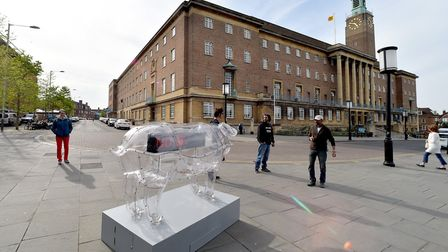 A giant piggy bank has been installed near the Forum for the Norfolk and Norwich Festival.Picture: N