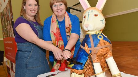 Boudicc'Hare is revealed by The Friends of Iceni.A cake is created by Ellie Reynolds (l) she is cutt