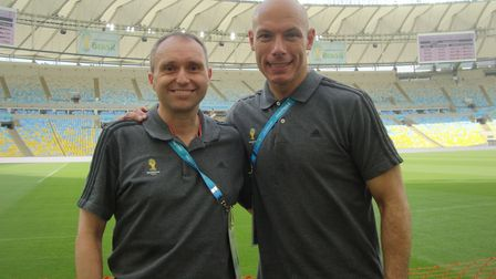 Darren Cann, left, and referee Howard Webb at the Maracana ahead of the World Cup in Brazil in 2014.
