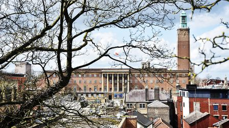 Norwich City Hall basking in the spring sunshine.Picture: ANTONY KELLY