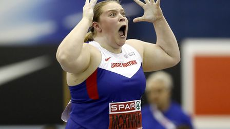 Sophie McKinna, on her way to second in the shot put at the British Championships earlier this year,