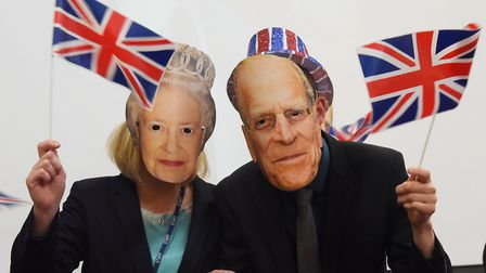 The Queen and Prince Philip at Howard Primary School at King's Lynn during the school's Royal Weddin
