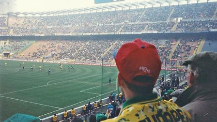 Milan 1 vs 0 NCFC. A fans pictures from the game at the San Siro, 1993. Photo: Edward Jackson