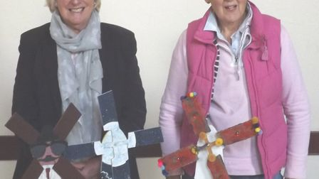 The town of Stalham is getting a windmill trail. Pictured are town councillors Maggie Baker and Eliz