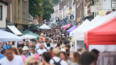 The Norwich Lanes during a summer fayre. Picture: Ian Burt