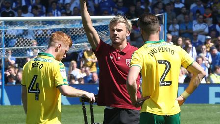 James Maddison of Norwich waves to the traveling Norwich fans at the end of the Sky Bet Championship