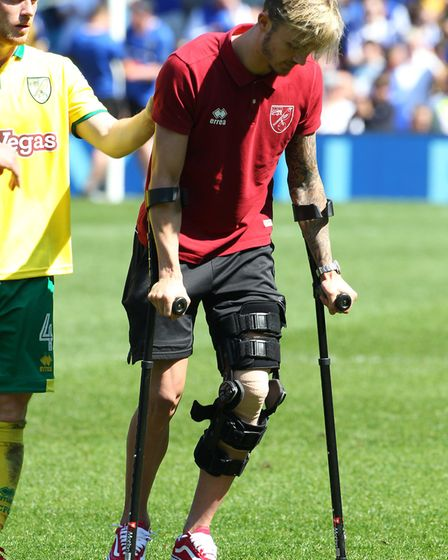 James Maddison suffered a knee injury against Sheffield Wednesday. Picture: Paul Chesterton/Focus Im