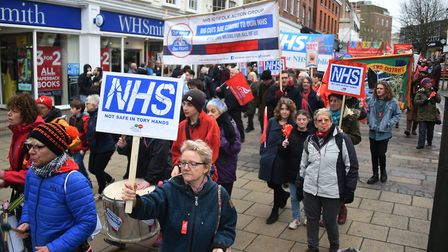 NHS Norfolk Action Group protest march in Norwich.Picture: ANTONY KELLY
