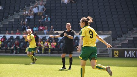 Norwich City Ladies' Chelsea Garrett celebrates her goal against MK Dons. Picture: Brian Coombes