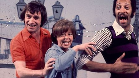 Johnny Ball with his fellow Playschool presenters Sarah Miles and Derek Griffiths. Photo: BBC TV