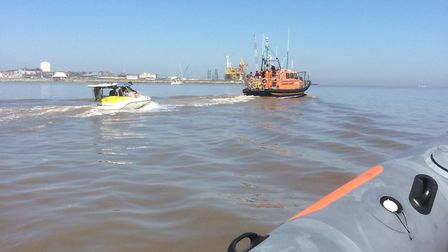 The speedboat which got into difficulty on Pakefield beach in Suffolk on May 7, 2018. It was towed b