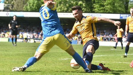 Action from King's Lynn Town's play-off final defeat by Slough. Picture: Sonya Duncan