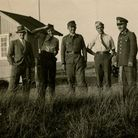 Don Black (second from left) at the two strands of barbed wire marking the German frontier with Denm