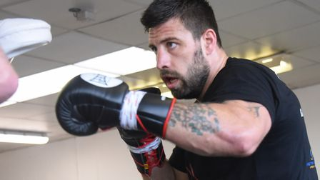 Sam Sexton in training for his British heavyweight title defence. Picture: DENISE BRADLEY