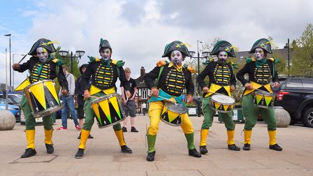The Transe Express drummers arrive at Norwich Railway Station to launch the Norfolk and Norwich Fest