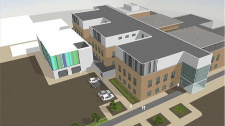 An artist impression of the one-storey extension for interventional radiology units at the Norfolk a