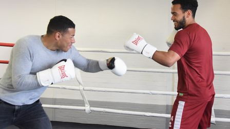Onel Hernandez, left, and Louis Thompson, try their hands at boxing. Picture: DENISE BRADLEY