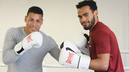 Norwich City footballers, Onel Hernandez, left, and Louis Thompson, sparring during boxing training