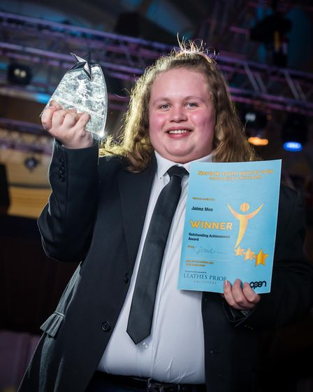 Norfolk Youth Awards 2018 at OPEN, Norwich. Outstanding Achievement winner Jaimz Mee. Photo credit S