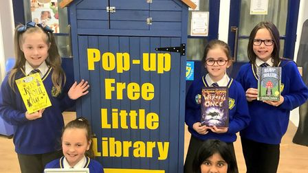 Howard Junior School's new pop-up library. Picture: Greg Hill