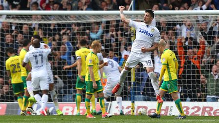 Pablo Hernandez celebrates after scoring the third goal for Leeds in the 3-3 draw at Elland Road las