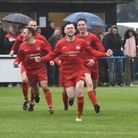 Harleston celebrate their winner against Mulbarton Wanderers, which handed them the Anglian Combinat