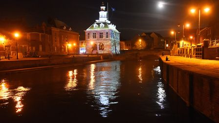 The Custom House is reflected in the Purfleet, where it is hoped a floating restaurant could be moor