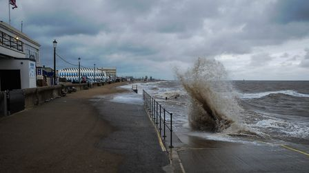Waves crash onto the prom at Hunstanton as gales and high tides bring the risk of flooding to Norfol