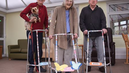 Joan Breeze, 90, with Peter Kerry, 77, left, and his dog Jake, and Dennis Markham, 87, and their sti