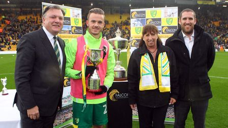 James Maddison of Norwich receives his trophy for Player Of The Season before the Sky Bet Championsh