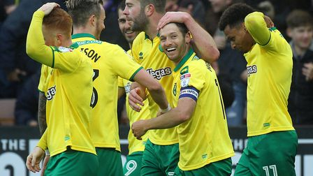 Wes Hoolahan celebrates scoring Norwich City's equaliser against Leeds United on his final Carrow Ro