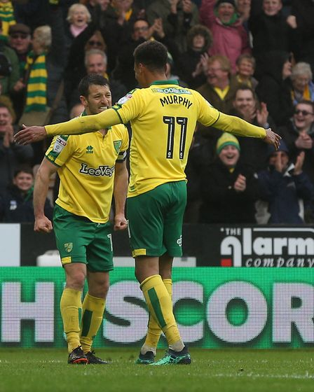Josh Murphy of Norwich celebrates scoring his sides 2nd goal during the Sky Bet Championship match a