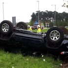 A car flipped on the A11 near Thetford, close to the Sainsburys roundabout. Credit: Norfolk Police