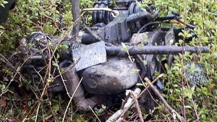 The engine was ripped out of a vehicle after it crashed into a tree in Carleton Forehoe. Picture: NS