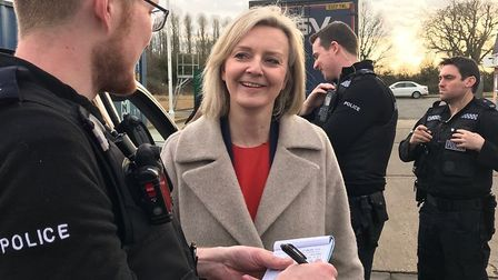 South West Norfolk MP and Chief Secretary to the Treasury Elizabeth Truss talking to Norfolk Constab