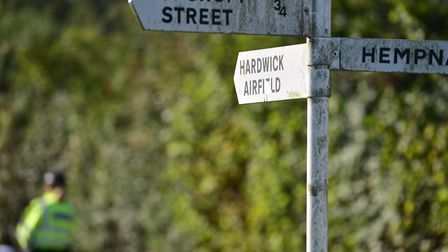 Road closures at the scene of the plane crash near Topcroft at the weekend.
