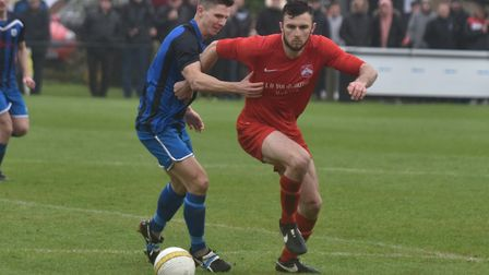 Action from Harleston Town's win over Mulbarton Wanderers. Picture: Sonya Duncan