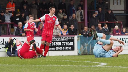Craig Parker reacts after a clash of heads during the match at Weymouth in October. Picture: Geoff M