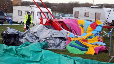 File photo of the bouncy castle after the fatal incident at the Easter Fair in Harlow. Picture: Step