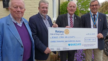 from the left; rotarian Dr Paul Richards, rotary club community service chairman Steve Roberts, sea