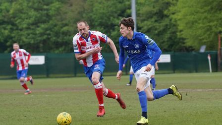 Lowestoft Town's Harvey Hodd in action against Dorking Wanderers. Picture: Shirley D Whitlow